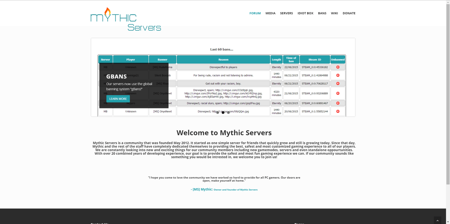 Mythic Servers Home Page